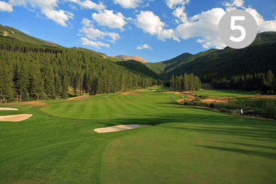Hopeful Crossing, Hole #5 at Greywolf Golf Course in Panorama, BC.