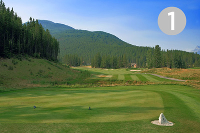 Hopeful Meadow, Hole #1 at Greywolf Golf Course in Panorama, BC.